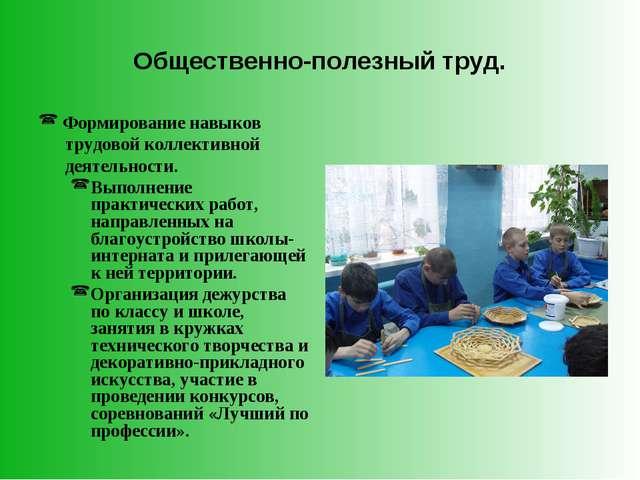 Общественно-полезный труд. Формирование навыков трудовой коллективной деятель...