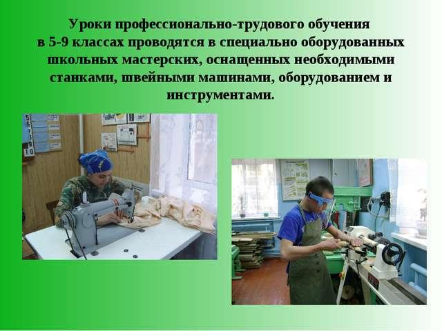 Уроки профессионально-трудового обучения в 5-9 классах проводятся в специальн...