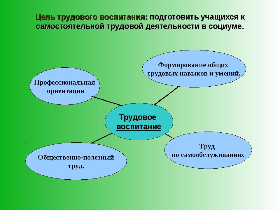 Цель трудового воспитания: подготовить учащихся к самостоятельной трудовой де...