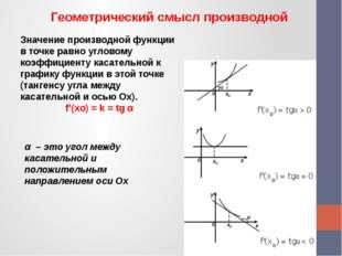 Геометрический смысл производной Значение производной функции в точке равно