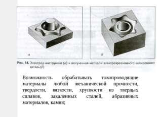 Возможность обрабатывать токопроводящие материалы любой механической прочност