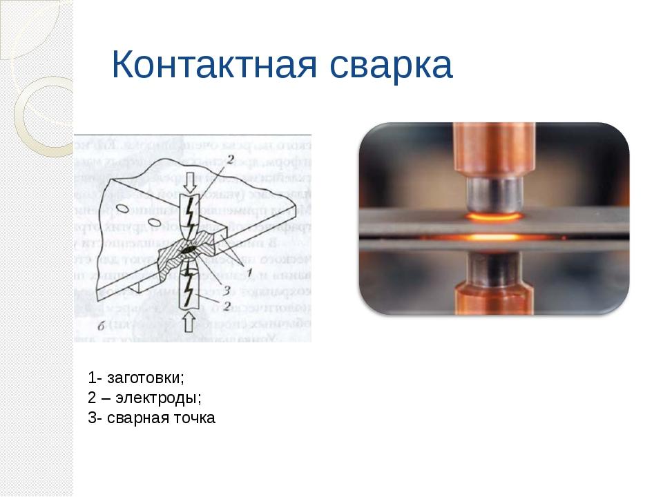 Контактная сварка 1- заготовки; 2 – электроды; 3- сварная точка