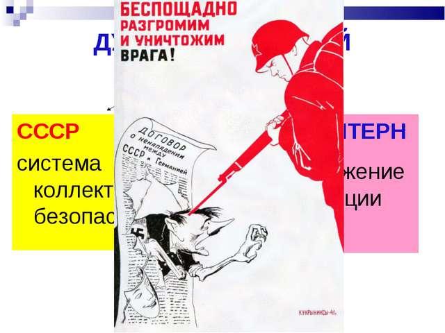 ДУАЛИЗМ ВНЕШНЕЙ ПОЛИТИКИ СССР СССР система коллективной безопасности КОМИНТЕР...