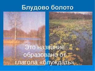 Блудовом болоте Это название образовано от глагола «блуждать»