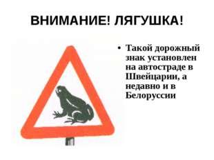ВНИМАНИЕ! ЛЯГУШКА! Такой дорожный знак установлен на автостраде в Швейцарии,