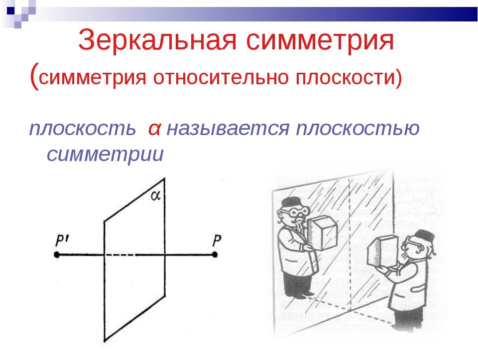 Зеркальная симметрия (симметрия относительно плоскости) плоскость α называет...