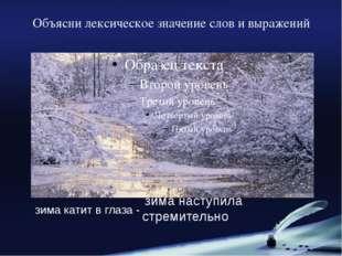 Объясни лексическое значение слов и выражений зима катит в глаза - зима насту