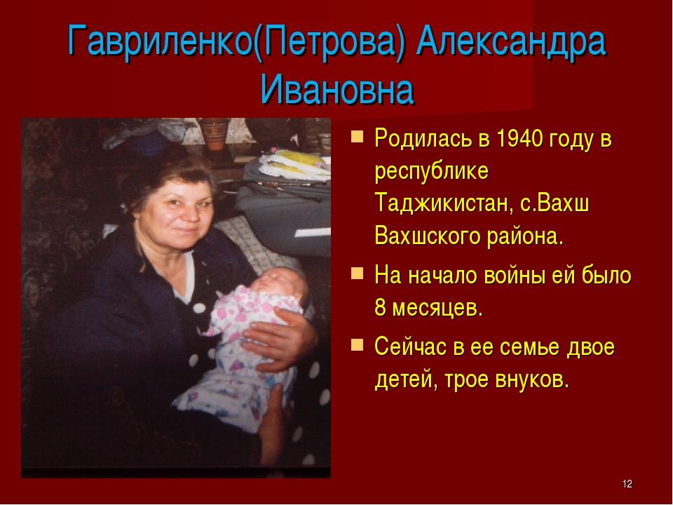 Гавриленко(Петрова) Александра Ивановна Родилась в 1940 году в республике Тад...
