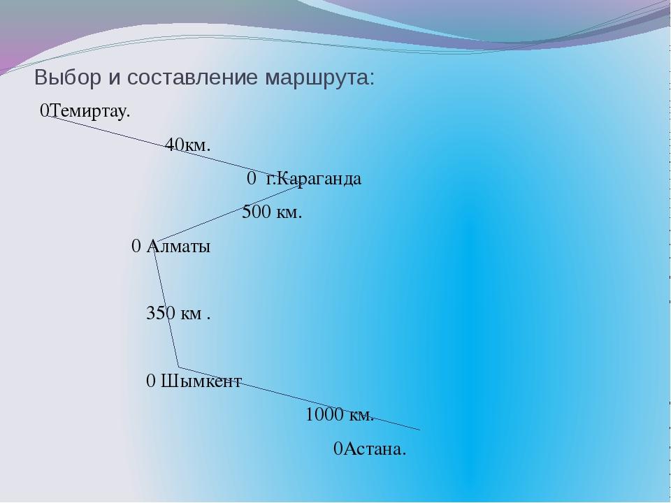 Выбор и составление маршрута: 0Темиртау. 40км. 0 г.Караганда 500 км. 0 Алматы...