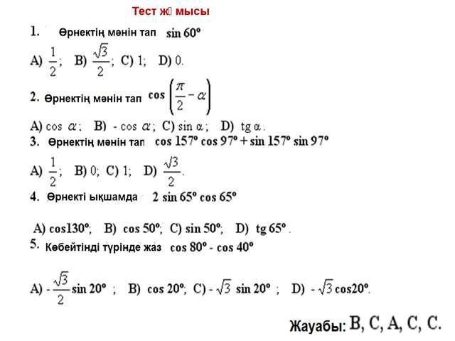 Тест жұмысы