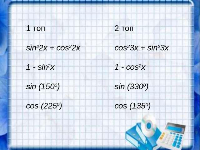 1 топ2 топ sin22x + cos22xcos23x + sin23x 1 - sin2x1 - cos2x sin (1500)si...
