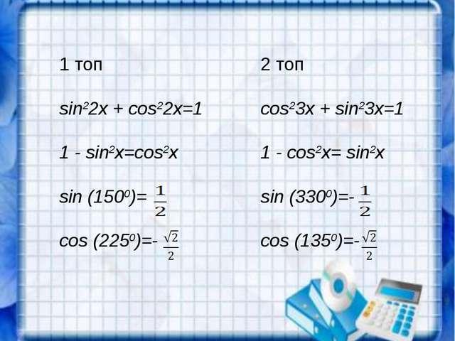 1 топ2 топ sin22x + cos22x=1cos23x + sin23x=1 1 - sin2x=cos2x1 - cos2x= si...