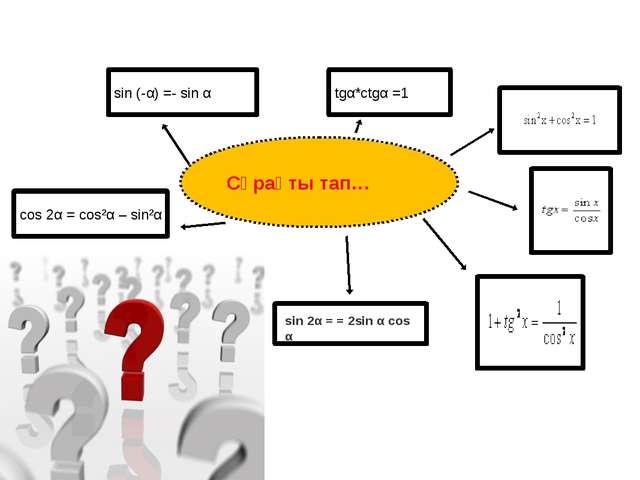 Сұрақты тап… sin (-α) =- sin α tgα*ctgα =1 cos 2α = cos²α – sin²α sin 2α = =...