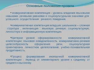Основные положения проекта коммуникативная компетенция - уровень владения яз