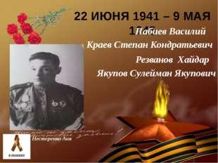 22 ИЮНЯ 1941 – 9 МАЯ 1945 Нестеренко Аня Краев Степан Кондратьевич Резванов Х