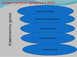 Блоки учебного процесса в ИОС Ценностно-целевой Программно-методический Инфор