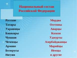 Национальный состав Российской Федерации  РусскиеМордва ТатарыОсетины Укра