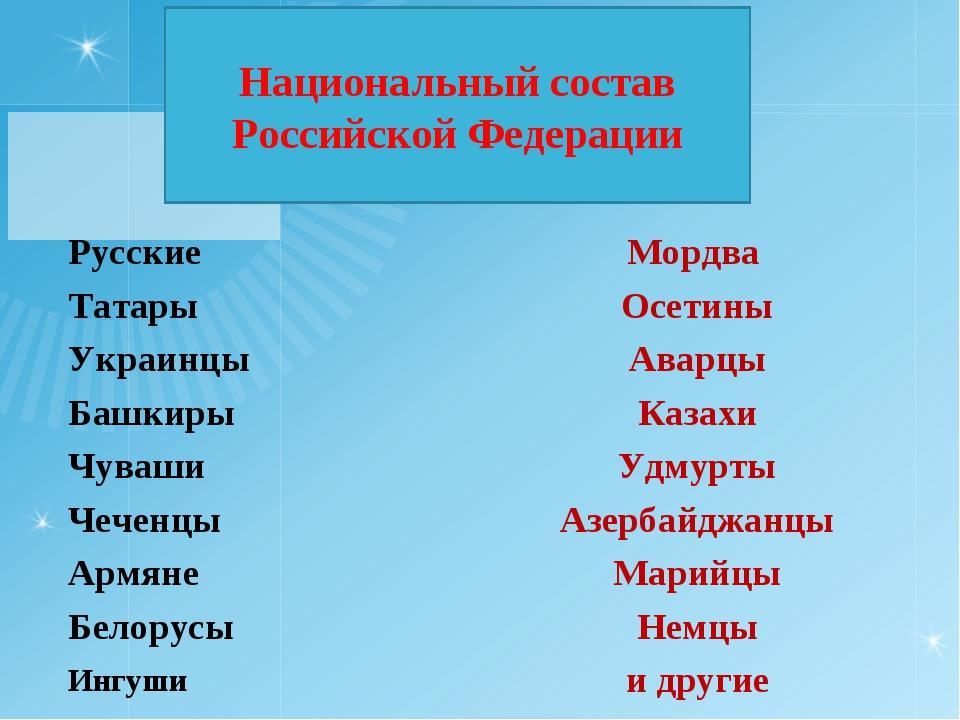 Национальный состав Российской Федерации  РусскиеМордва ТатарыОсетины Укра...