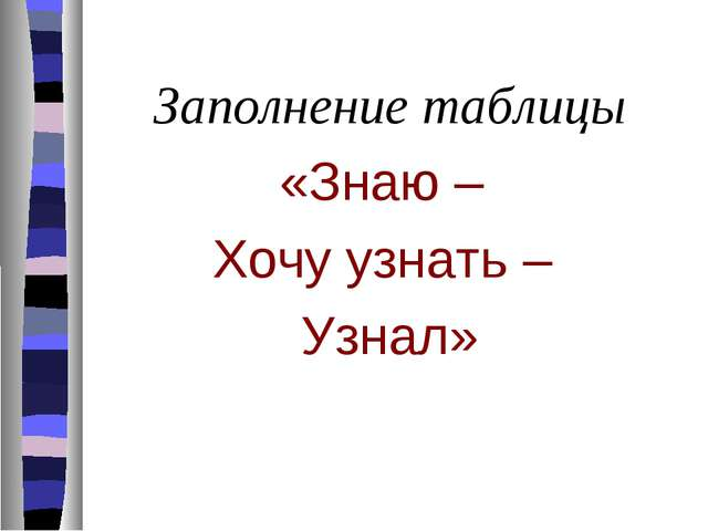 Заполнение таблицы «Знаю – Хочу узнать – Узнал»
