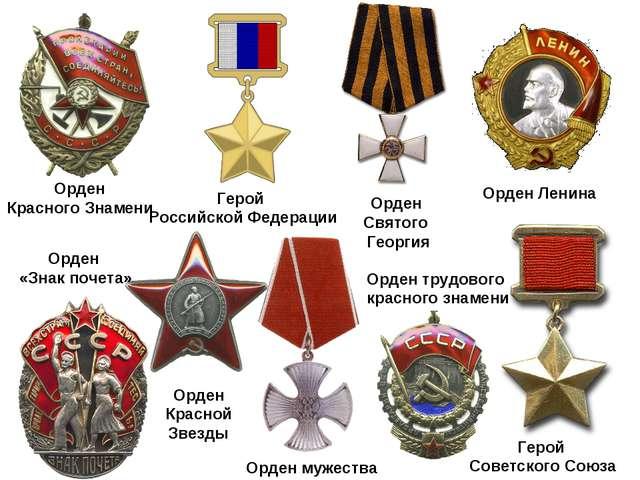 Орден Святого Георгия Герой Советского Союза Герой Российской Федерации Орден...