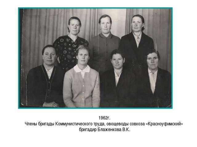 1962г. Члены бригады Коммунистического труда, овощеводы совхоза «Красноуфимск...