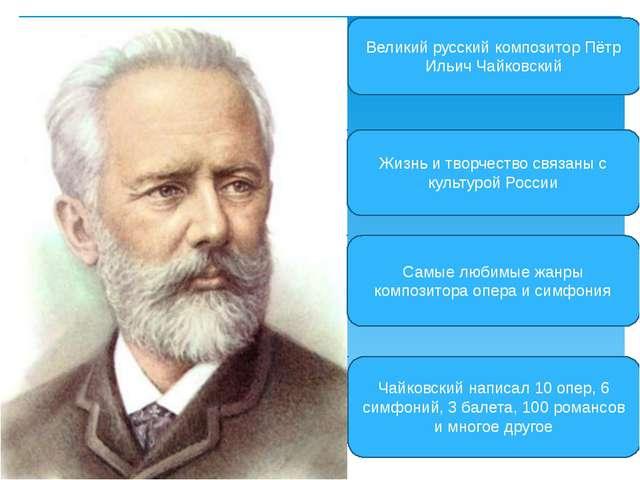 Великий русский композитор Пётр Ильич Чайковский Жизнь и творчество связаны с...