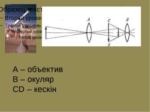 А – объектив В – окуляр СD – кескін