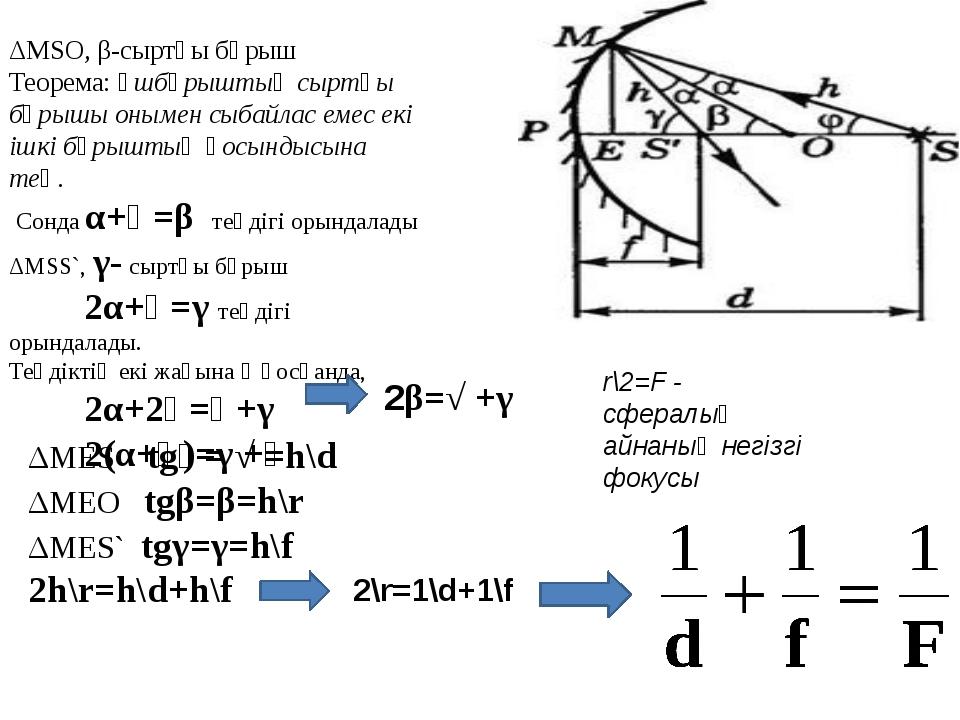 ΔMSO, β-сыртқы бұрыш Теорема: Үшбұрыштың сыртқы бұрышы онымен сыбайлас емес е...