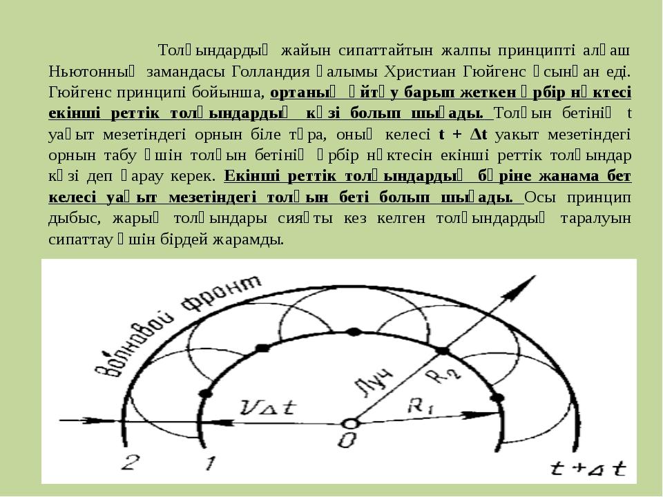 Толқындардың жайын сипаттайтын жалпы принципті алғаш Ньютонның замандасы Гол...