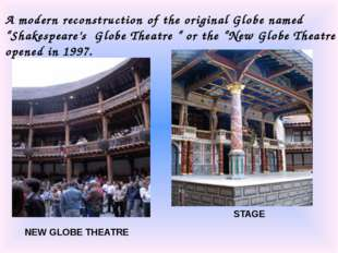"A modern reconstruction of the original Globe named ""Shakespeare's Globe Thea"