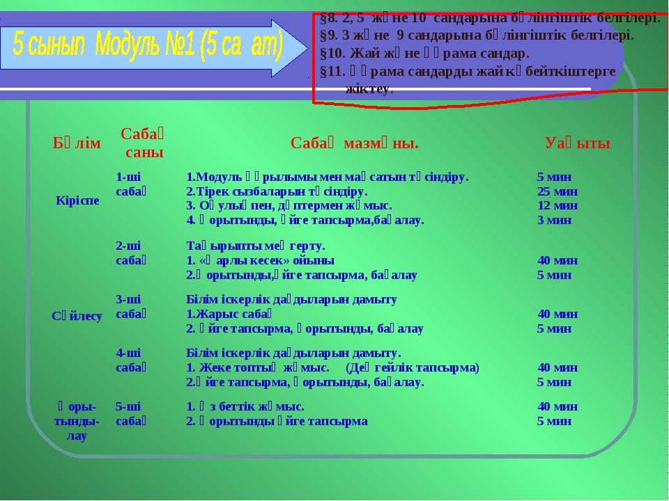 §8. 2, 5 және 10 сандарына бөлінгіштік белгілері. §9. 3 және 9 сандарына бөлі...