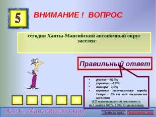 ВНИМАНИЕ ! ВОПРОС сегодня Ханты-Мансийский автономный округ заселен: Правильн
