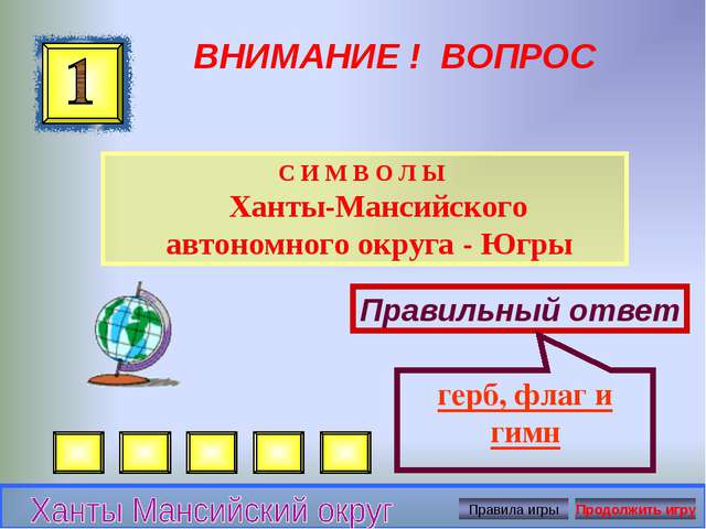 ВНИМАНИЕ ! ВОПРОС С И М В О Л Ы Ханты-Мансийского автономного округа - Югры П...