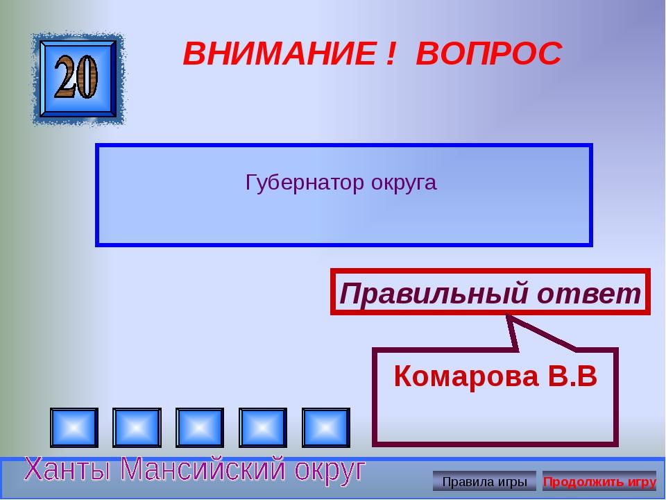 ВНИМАНИЕ ! ВОПРОС Губернатор округа Правильный ответ Комарова В.В
