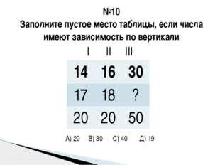 №10 Заполните пустое место таблицы, если числа имеют зависимость по вертикали