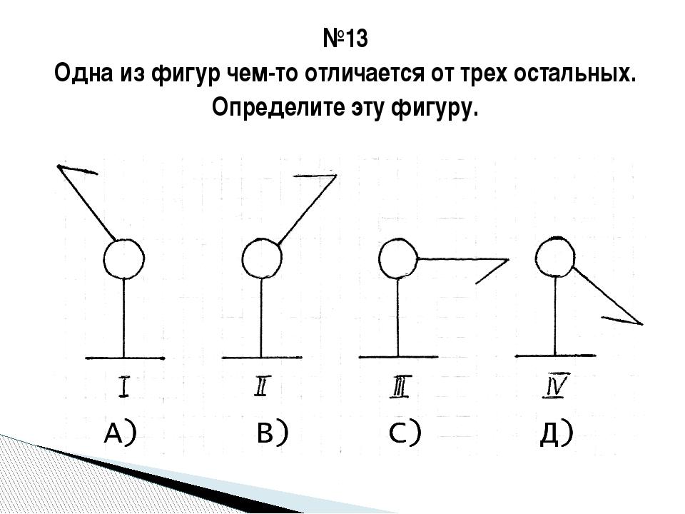 №13 Одна из фигур чем-то отличается от трех остальных. Определите эту фигуру.