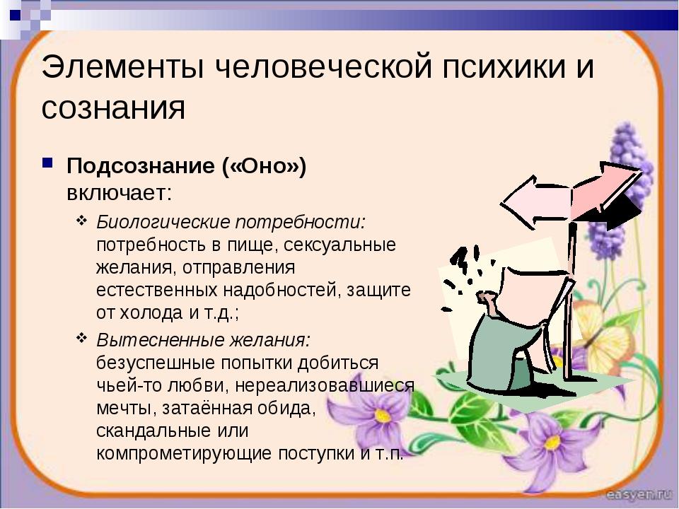 Элементы человеческой психики и сознания Подсознание («Оно») включает: Биолог...