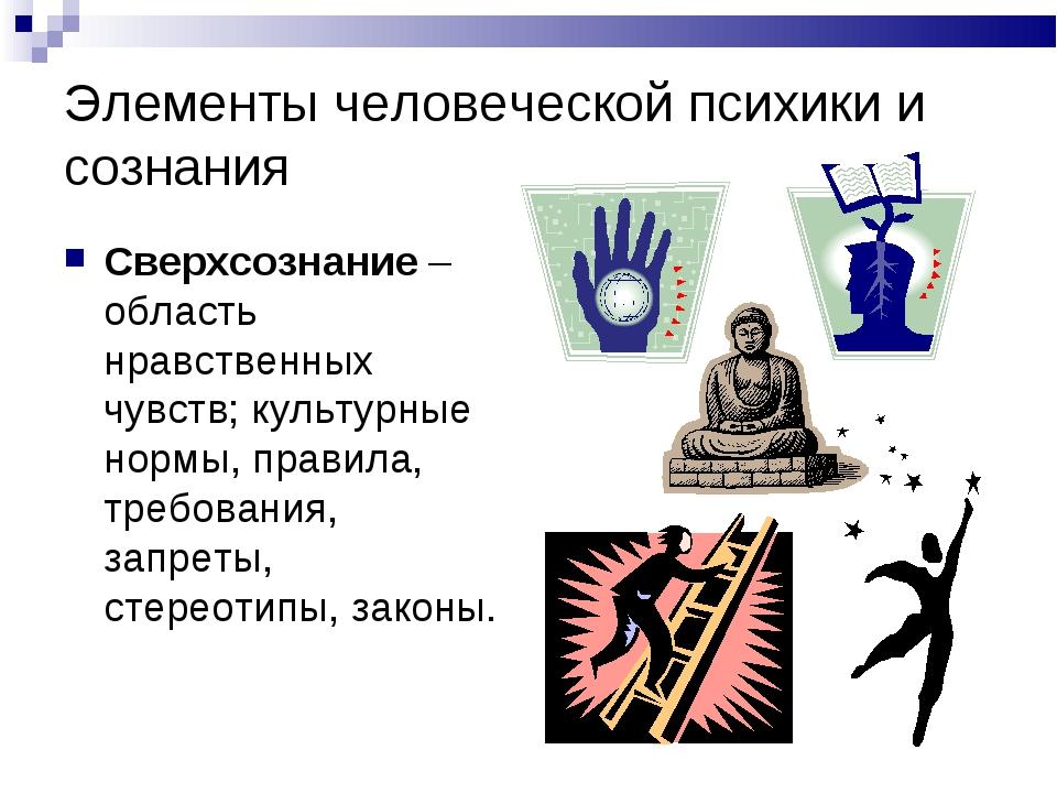 Элементы человеческой психики и сознания Сверхсознание – область нравственных...