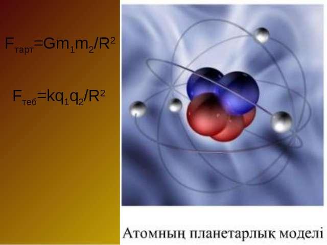 Fтарт=Gm1m2/R2 Fтеб=kq1q2/R2