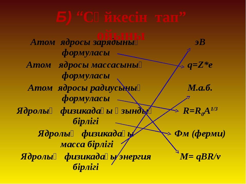 """Б) """"Сәйкесін тап"""" ойыны Атом ядросы зарядының формуласыэВ Атом ядросы массас..."""