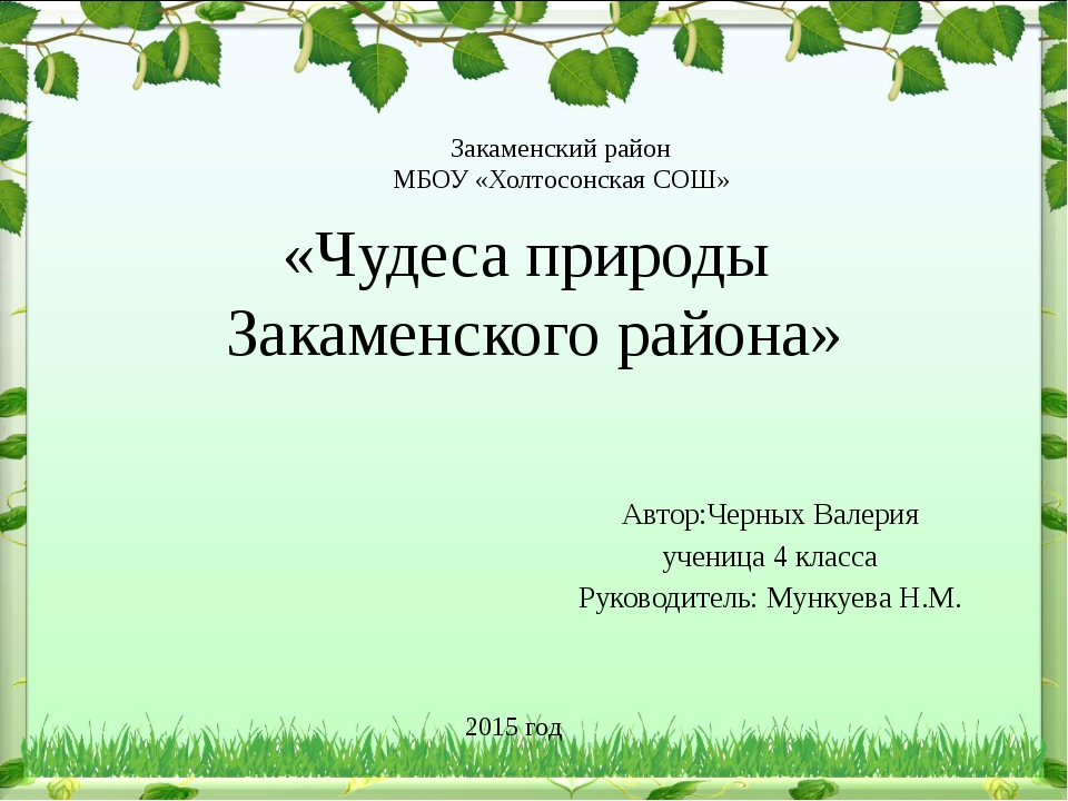 «Чудеса природы Закаменского района» Автор:Черных Валерия ученица 4 класса Ру...