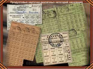 Продуктовые карточки различных категорий населения
