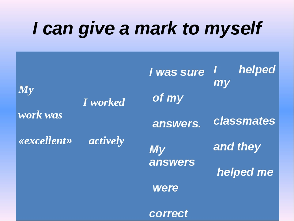 I can give a mark to myself My work was «excellent» I worked actively I was s...