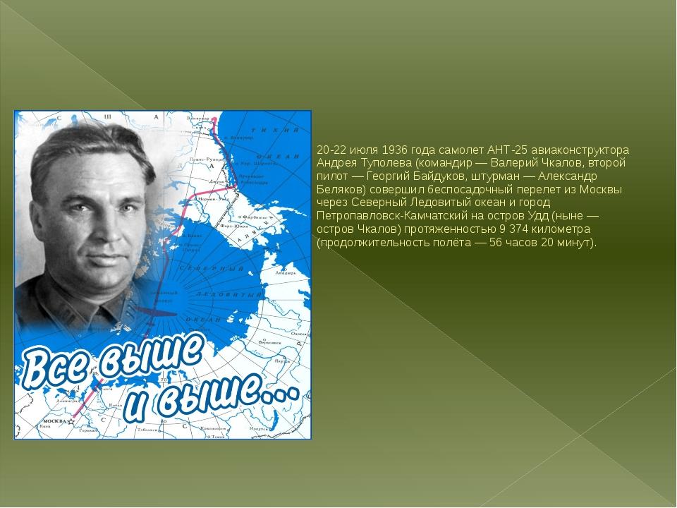 20-22 июля 1936 года самолет АНТ-25 авиаконструктора Андрея Туполева (команд...