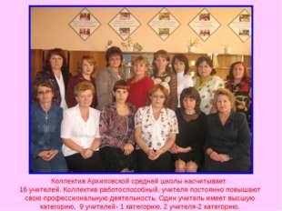 Коллектив Архиповской средней школы насчитывает 16 учителей. Коллектив работо