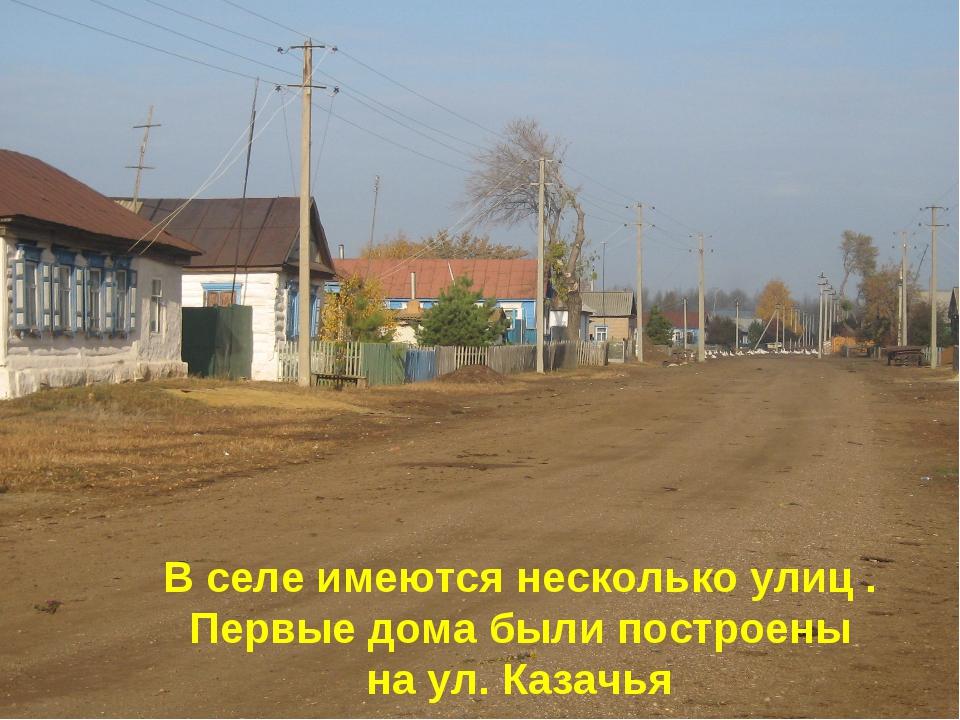 В селе имеются несколько улиц . Первые дома были построены на ул. Казачья