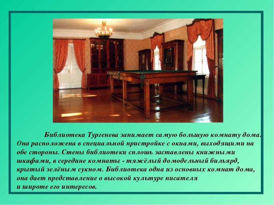 Библиотека Тургенева занимает самую большую комнату дома. Она расположена в...