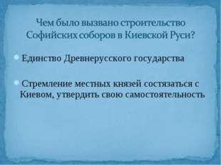 Единство Древнерусского государства Стремление местных князей состязаться с К