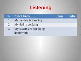 Listening № Now I know….. True False 1 My mother is dancing 2 My dad is cooki