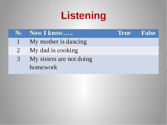 Listening № Now I know….. True False 1 My mother is dancing 2 My dad is cooki...
